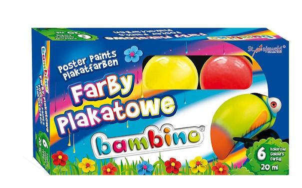 Bambina Farby plakatowe 6 kol. 20ml - sklep z zabawkami krainazabawek24.pl